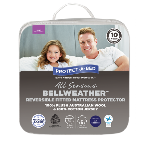 Bellweather™ Reversible Wool/Cotton Jersey Fitted Mattress Protector
