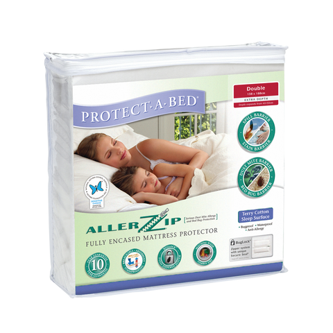 Allerzip Terry Fully Encased Mattress Protector - Double Extra Depth