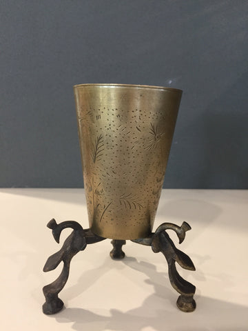 BRASS LASSI CUP ON STAND