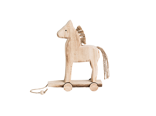 FJORD STANDING WOODEN HORSE ON WHEELS - SM H17CM