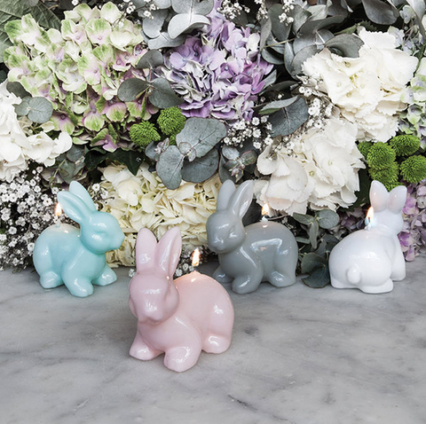 RABBIT CANDLE grey & white