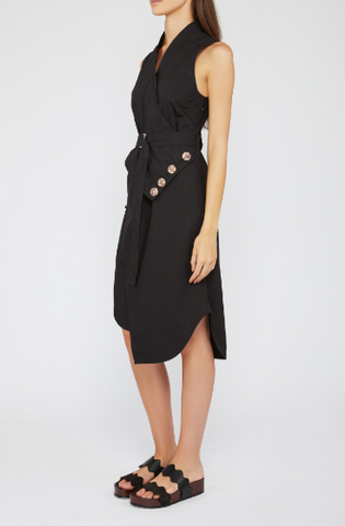 LAGUNA SHIRT DRESS- BLACK