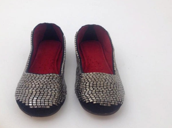 GUN METAL BEADED BALLET FLATS