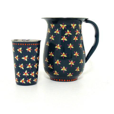 STAINLESS STEEL PAINTED JUG & TUMBLER SET -TEAL
