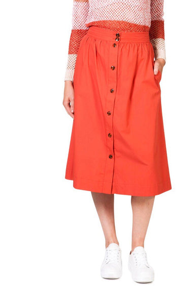 BUTTON THROUGH SKIRT - SPICE