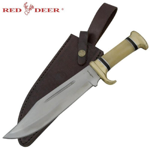 RED DEER 14 INCH QUALITY BONE HANDLE BOWIE KNIFE