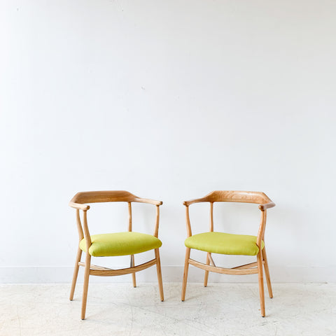 Pair of Sculpted Modern Occasional Chairs w/ New Chartreuse Upholstery