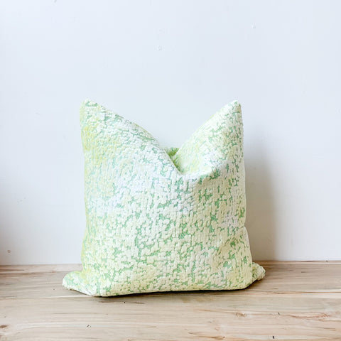 Bright Green/Yellow Chenille Pillow 18x18