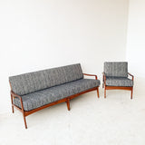 Mid Century Sofa and Chair Set with New Upholstery