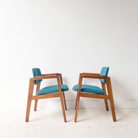 Pair of United Chair Co Chairs with New Teal Upholstery