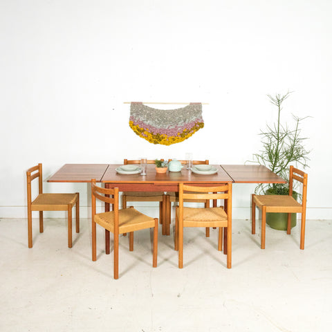 ... Set Of 6 Teak Woven Rope Chairs ...