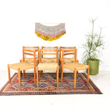 Set of 6 Teak Woven Rope Chairs