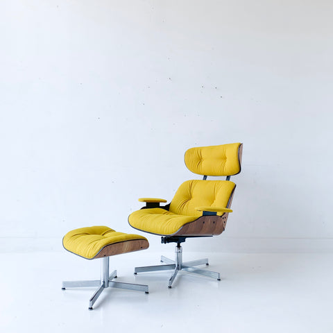 Mid Century Modern Plycraft Lounge Chair and Ottoman with New Mustard Upholstery