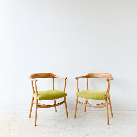 Pair of Sculpted Modern Occasional Chairs w/ New Ribbed Chartreuse Upholstery
