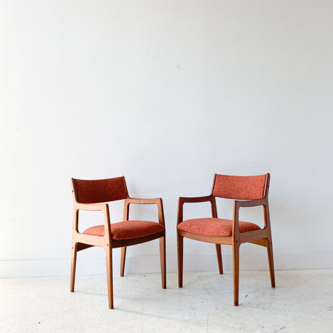 Pair of Teak Occasional Chairs w/ New Orange Upholstery