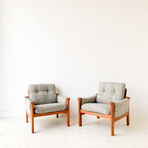 Pair of Danish Teak Cado Lounge Chairs with New Upholstery