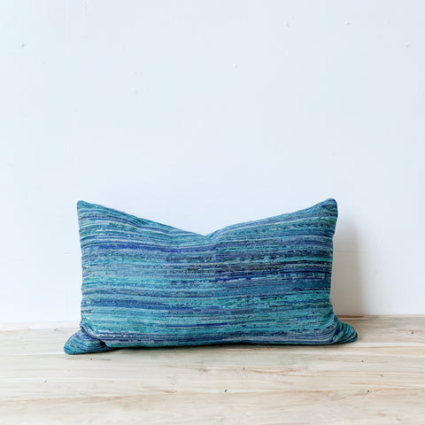 Multi Teal Stripe Lumbar Pillow 14x24