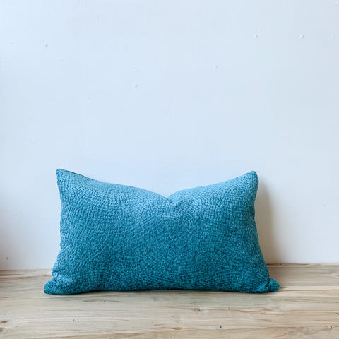Turquoise Chenille Lumbar Pillow  14x24
