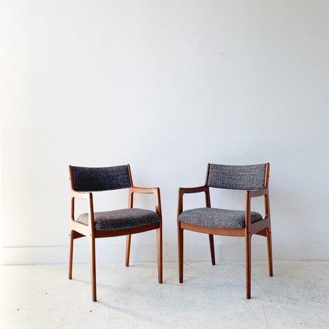 Pair of Teak Occasional Chairs w/ New Rainbow Upholstery