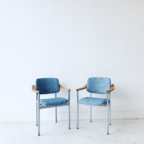 Pair of Thonet Occasional Chairs with New Blue Upholstery