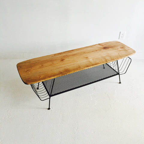 Mid Century Coffee Table with Metal Base