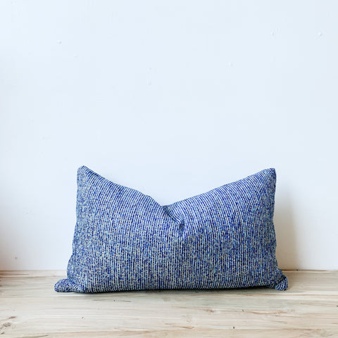 Multi Blue Stripe Chenille Lumbar Pillow 14x24