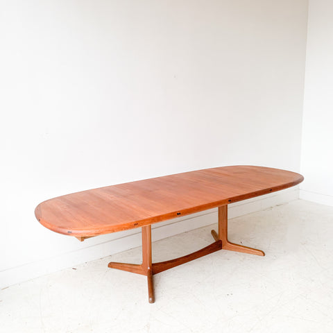 Danish Teak Dining Table with Sculpted Base