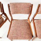 Set of 4 Sculpted Dining Chairs with New Upholstery