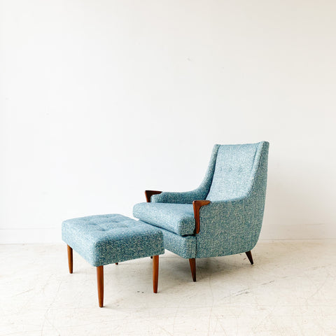 Mid Century Lounge Chair and Ottoman w/ New Blue Upholstery