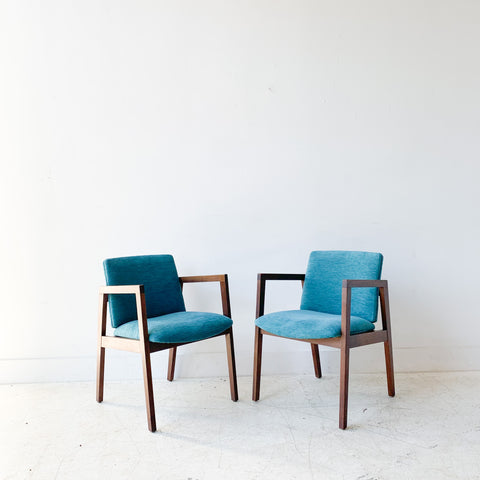 Pair of Walnut Occasional Chairs w/ New Teal Upholstery