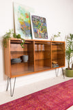 Danish Teak Curio Cabinet with Lighted Interior