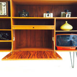 Danish Teak Media Cabinet/Bar on Hairpin Legs