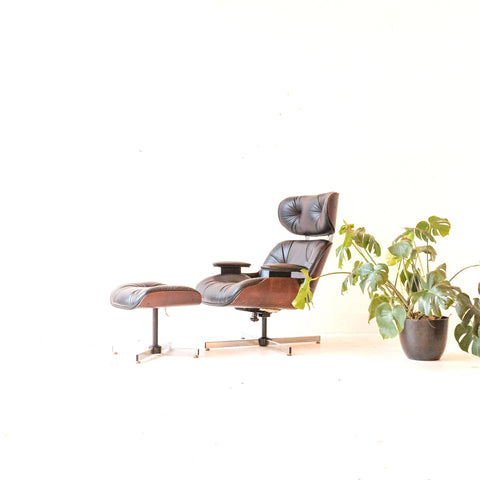 Mid Century Modern Plycraft Lounge Chair and Ottoman