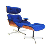 Royal Blue Eames Style Lounge Chair & Ottoman