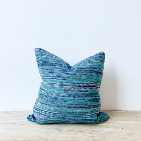 Multi Teal Stripe Pillow 18x18