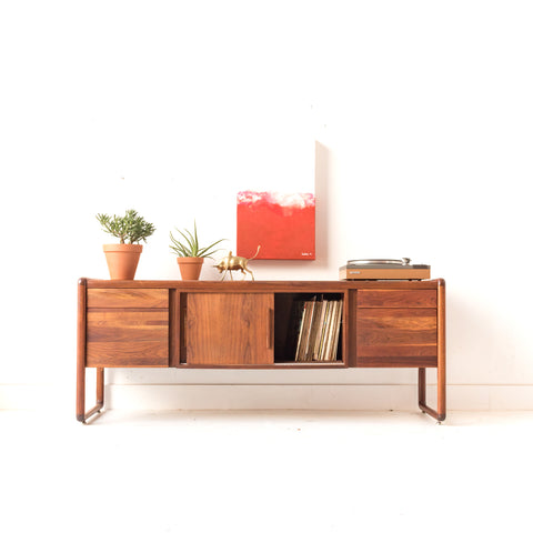 Mid Century Walnut Credenza/Media Cabinet by Gunlocke