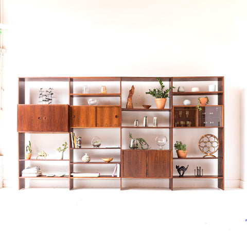 Hansen & Guldborg (HG) Danish Rosewood 4 Bay Wall Unit