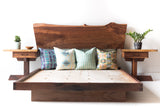 Black Walnut Platform Bed with Nightstands