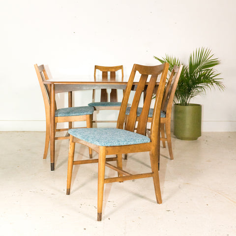 Mid Century Walnut Dining Set with 4 Chairs