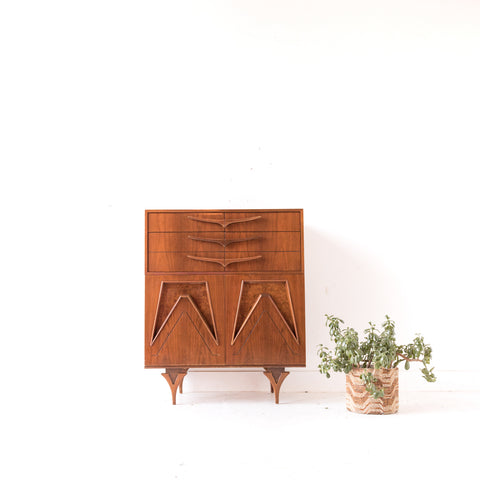 Mid Century Modern Sculpted Highboy Dresser