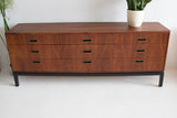 Mid Century Walnut Dresser - 9 Drawer