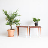 Mid Century Walnut Slat Coffee & End Table Set