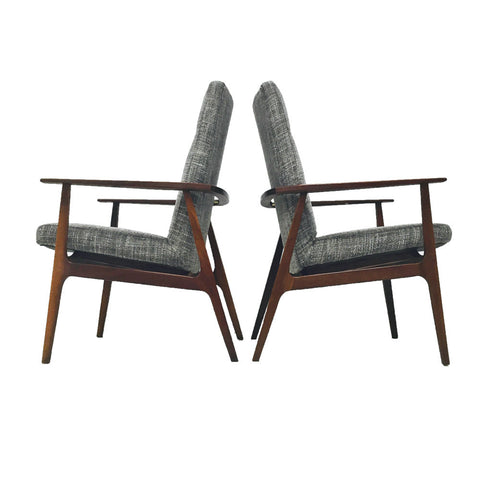 Pair of Mid Century Walnut Occasional Chairs