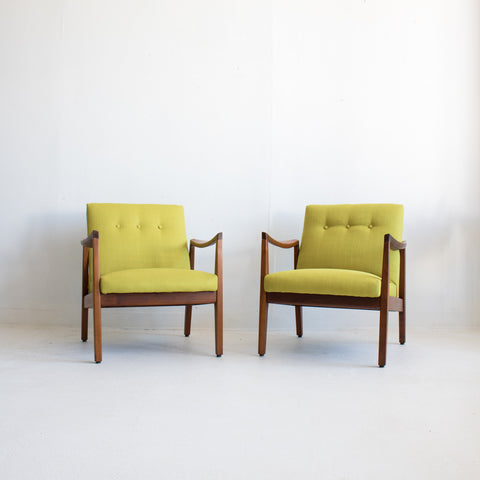 Pair of Mid Century Chartreuse Lounge Chairs