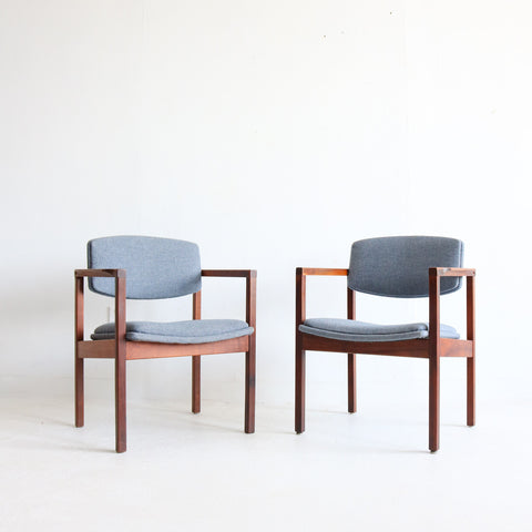 Pair Walnut Occasional Chairs