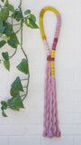 Pink Wrapped Rope Wall Hanging with Chartreuse