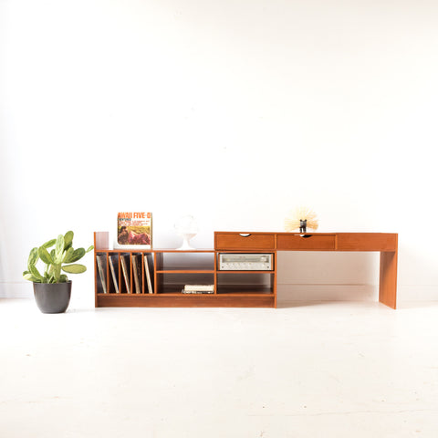 Sliding/Adjustable Teak Media Center