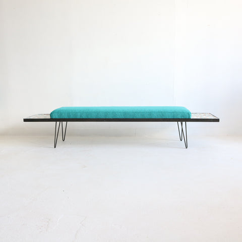 Teal Bench with Mosaic End Tables