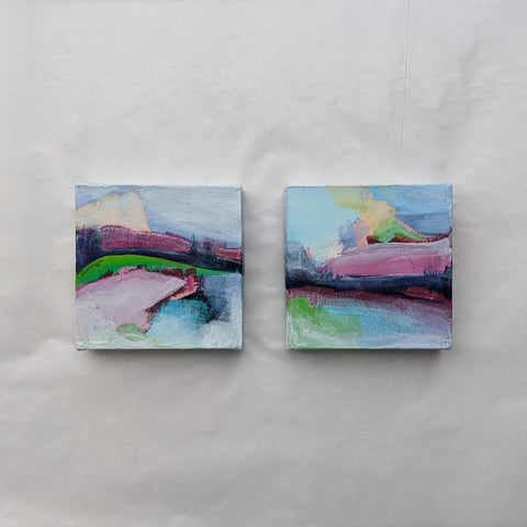 "Volcano in Candy Land, Diptych  6"" x 6"""