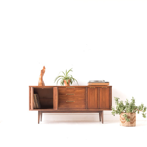 Mid Century Modern Sideboard with Brass Pulls - A